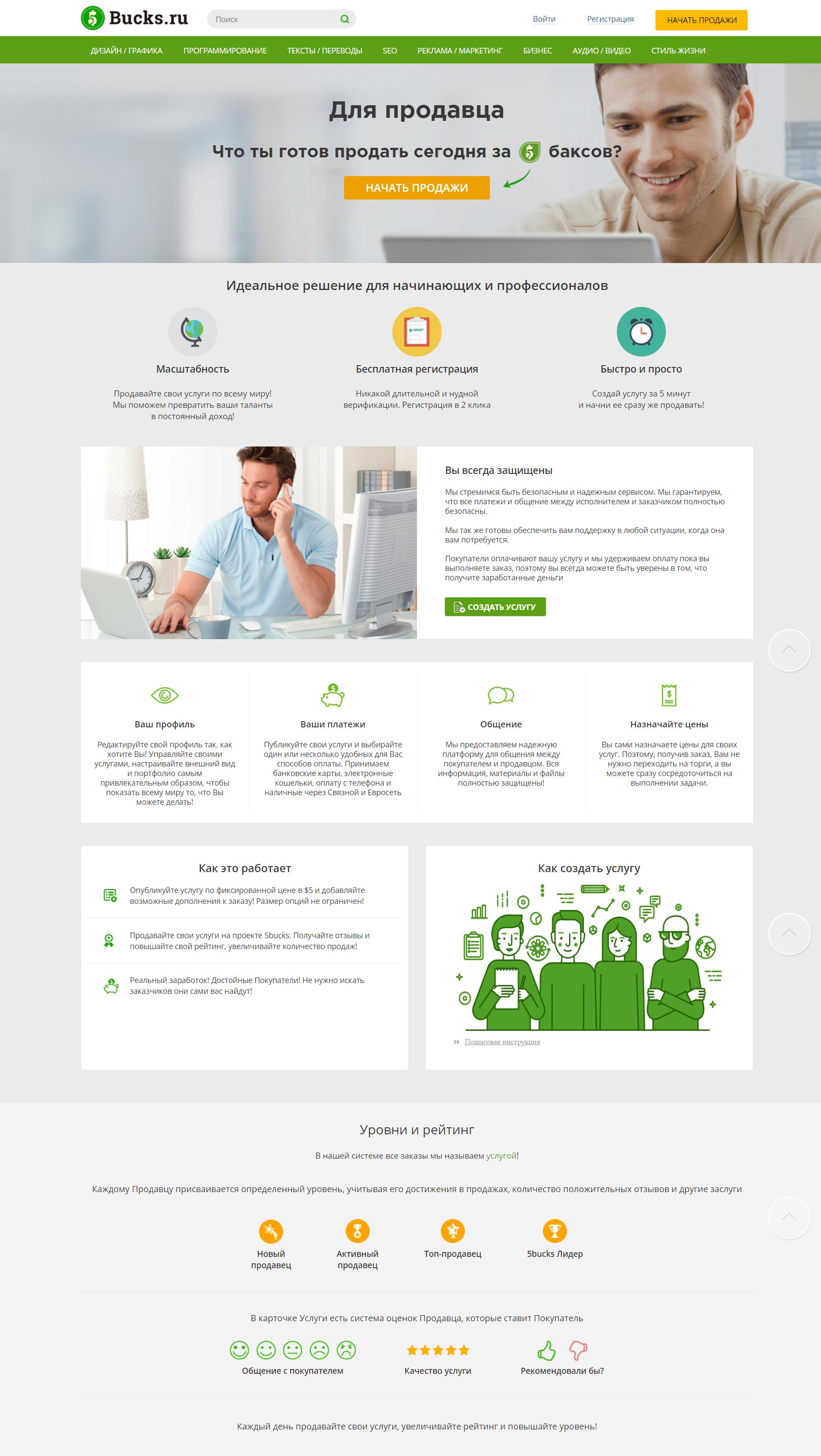 скрин страницы для фрилансеров 5bucks.ru